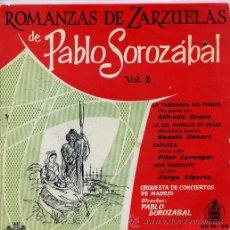 Discos de vinilo: ROMANZAS DE ZARZUELAS DE PABLO SOROZABAL VOL 2 (EP 1959). Lote 45671395