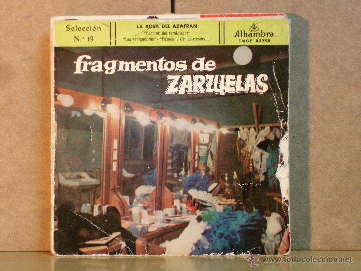FRAGMENTOS DE ZARZUELAS - SELECCION NO 19: LA ROSA DEL AZAFRAN - ALHAMBRA SMGE 80258 - 1959 (Música - Discos de Vinilo - EPs - Clásica, Ópera, Zarzuela y Marchas)