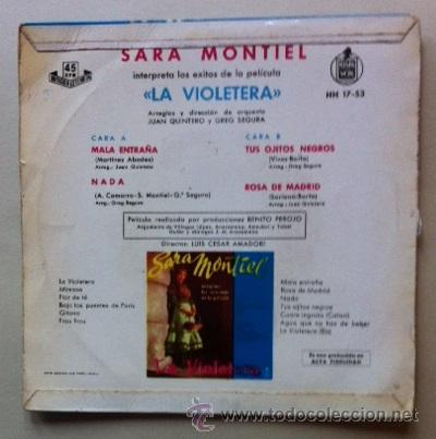 Discos de vinilo: SARA MONTIEL - LA VIOLETERA - Foto 2 - 45739151