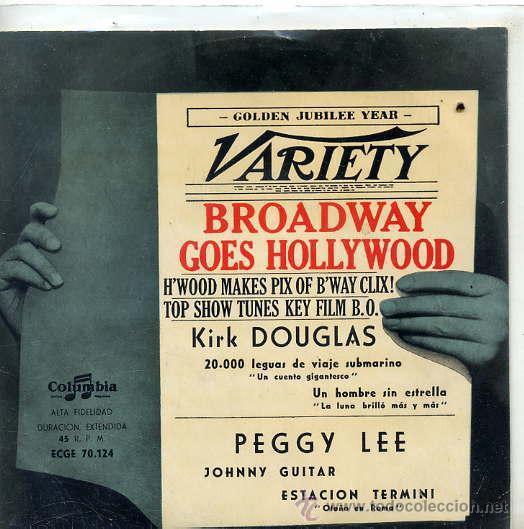 BROADWAY GOES HOLLYWOOD / KIRK DOUGLAS & THE MELLOMEN / UN HOMBRE SIN ESTRELLA + 3 (EP ESPAÑOL 1959) (Música - Discos de Vinilo - EPs - Bandas Sonoras y Actores)