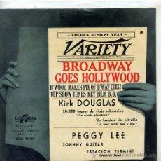 Discos de vinilo: BROADWAY GOES HOLLYWOOD / KIRK DOUGLAS & THE MELLOMEN / UN HOMBRE SIN ESTRELLA + 3 (EP ESPAÑOL 1959). Lote 45760460