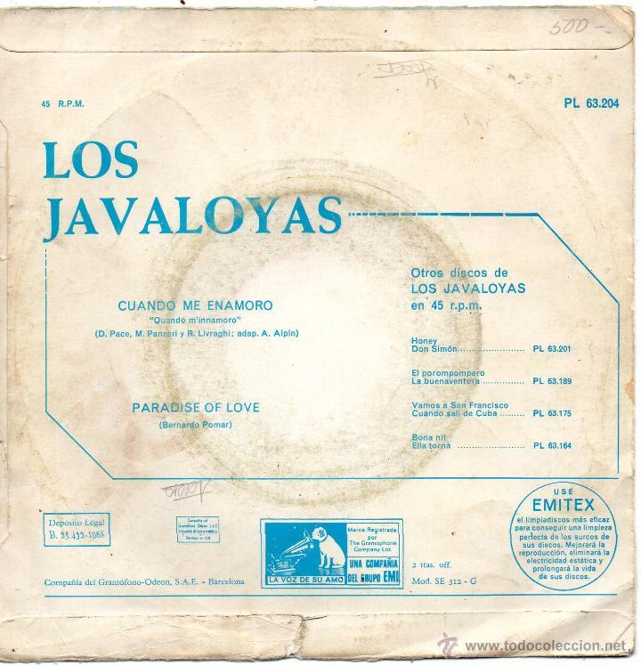 Discos de vinilo: JAVALOYAS, SG, CUANDO ME ENAMORO + 1 , 1968 - Foto 2 - 45862123