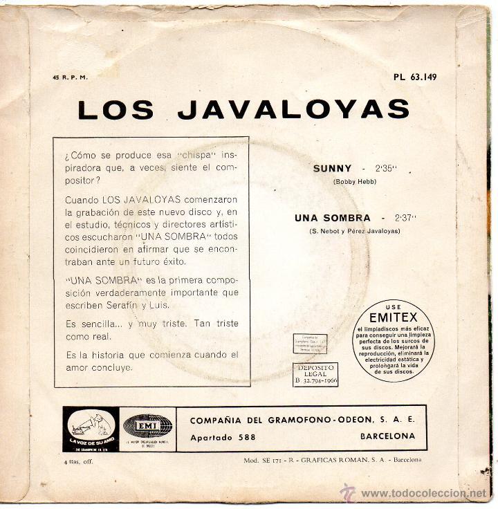 Discos de vinilo: JAVALOYAS, SG, SUNNY + 1 , 1966 - Foto 2 - 45862163