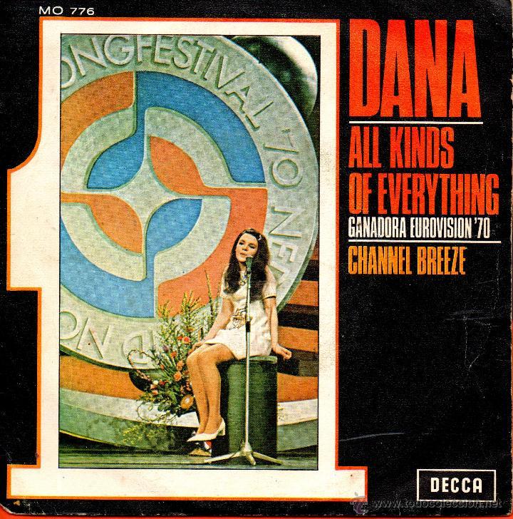 . SINGLE DANA ALL KINDS OF EVERYTHING GANADORA EUROVISION 1970 CHANNEL BREEZE (Música - Discos de Vinilo - Maxi Singles - Festival de Eurovisión)