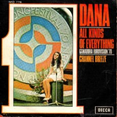 Discos de vinilo: . SINGLE DANA ALL KINDS OF EVERYTHING GANADORA EUROVISION 1970 CHANNEL BREEZE. Lote 45920662