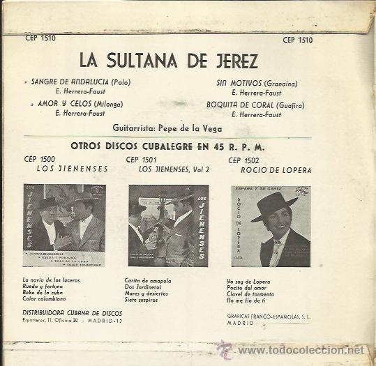 La sultana de jerez ep cubalegre 1963 sangre de - Sold
