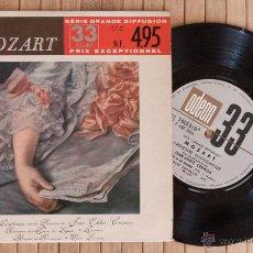 Discos de vinilo: MOZART. SERIE GRANDE DIFFUSION. EP ROMANCE DE LES NOCES DE FIGARO + 3 TEMAS. ODEON FRANCIA.. Lote 45941043