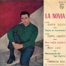 Discos de vinilo: DAVID SOTO - FILIPPO CARLETTI - MELI LAIZ - ESMERALDA ROY, EP, POESIA EN MOVIMIENTO + 3, AÑO 1961. Lote 45944820