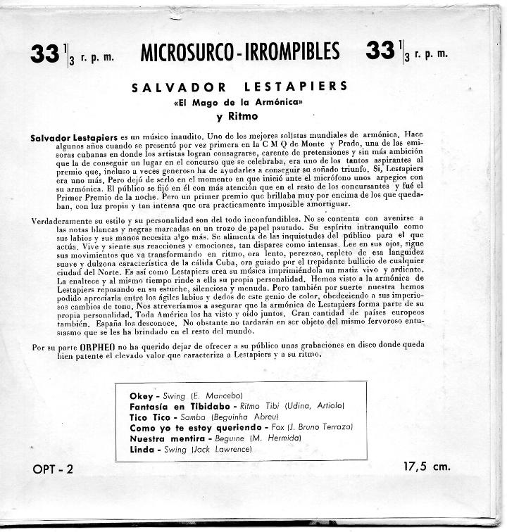 Discos de vinilo: SALVADOR LESTAPIERS - EL MAGO DE LA ARMONICA, EP, OKEY + 5, AÑO 1959 - Foto 2 - 45956995