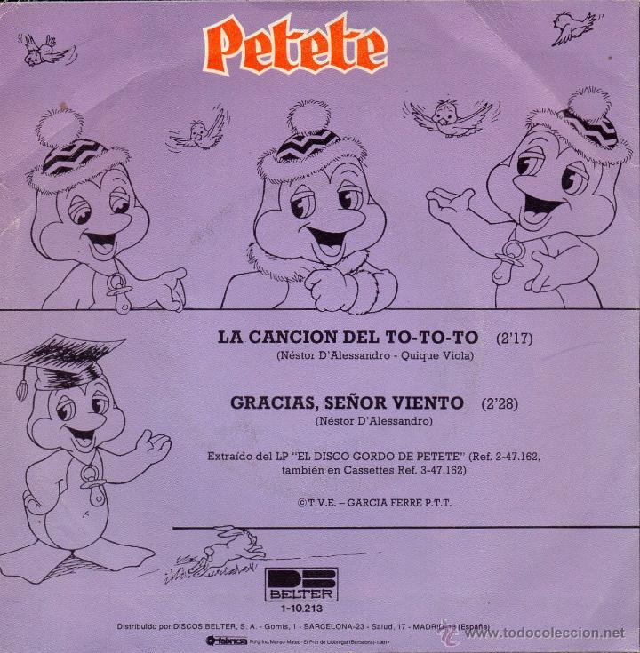 Discos de vinilo: PETETE, SG, LA CANCION DEL TO-TO-TO + 1, AÑO 1981 - Foto 2 - 45957288