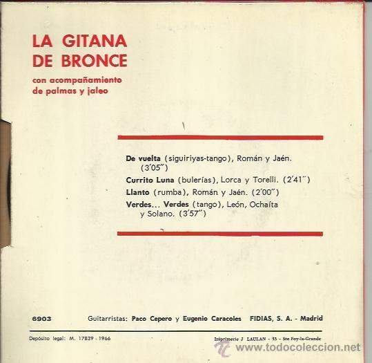 Discos de vinilo: LA GITANA DE BRONCE EP FIDIAS 1966 de vuelta +3 PACO CEPERO eugenio caracoles LEON OCHAITA SOLANO - Foto 2 - 46037996