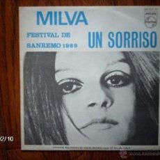 Disques de vinyle: MILVA - FESTIVAL DE SANREMO DE 1969 - UN SORRISO + DULCE AMOR . Lote 46048642