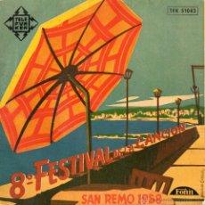 Discos de vinilo: 8º FESTIVAL DE LA CANCION SAN REMO 1958, EP, DOMENICO MODUGNO -- NEL BLU DIPINTO DI BL + 1, AÑO 1958. Lote 46109504