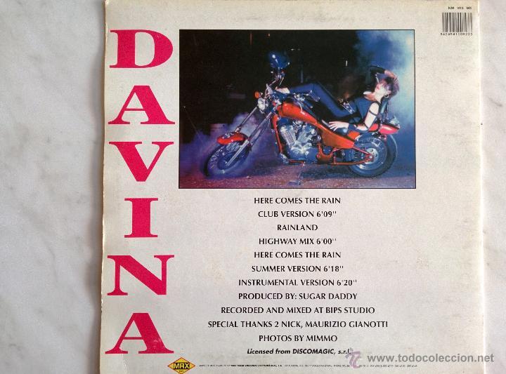 Discos de vinilo: DAVINA. HERE COMES THE RAIN. - Foto 2 - 46128726