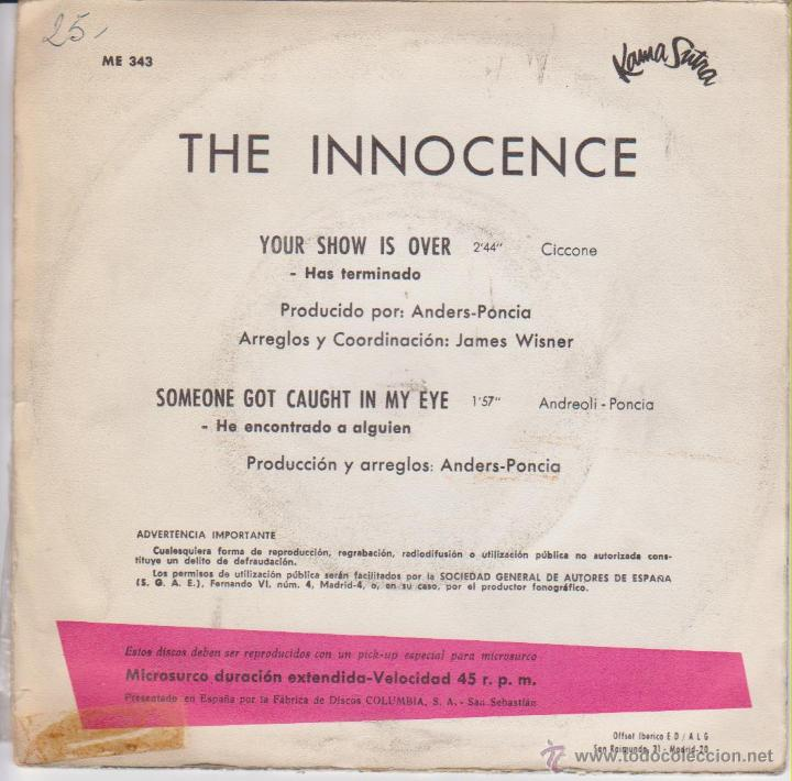 Discos de vinilo: THE INNOCENCE - YOUR SHOW IS OVER - HAS TERMINADO + 2 - SG SPAIN 1967 VG++ / EX - Foto 2 - 46133606