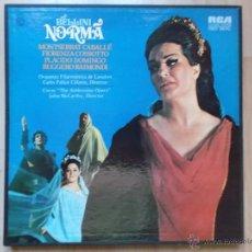 Discos de vinilo: BELLINI NORMA CABALLE PLACIDO DOMINGO OPERA CAJA 3 LP. Lote 46134139