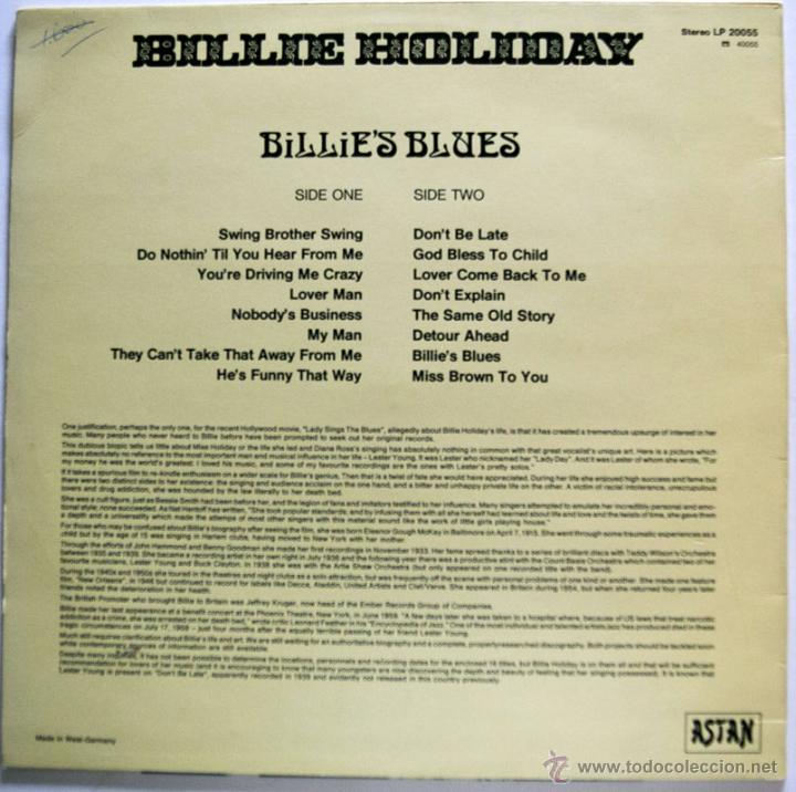 Discos de vinilo: LP - BILLIE HOLIDAY - BILLIE'S BLUES - ASTAN MADE IN GERMANY 1984 VG++/M- MUY BUEN ESTADO - Foto 2 - 46166264