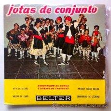 Discos de vinilo: JOTAS DE BAILE - ALCAÑIZ, CASPE, LECIÑENA - . EP 1960 - AGRUPACIÓN COROS Y DANZAS DE ZARAGOZA. Lote 46176679