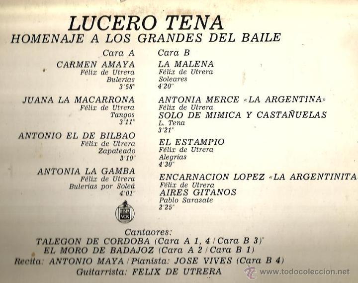 Discos de vinilo: LP LUCERO TENA : HOMENAJE A CARMEN AMAYA, LA MACARRONA, LA GAMBA, LA MALENA, LA ARGENTINITA, ETC - Foto 2 - 46178532