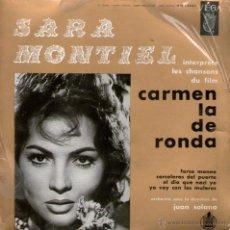Discos de vinilo: SARA MONTIEL - EP SINGLE VINILO - EDITADO EN FRANCIA - FARSA MONEA + 3 - VEGA.. Lote 46267683