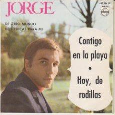 Discos de vinilo: JORGE & LOS SONOR - CONTIGO EN LA PLAYA + 3 - EP SPAIN 1964 EX / EX. Lote 46292211