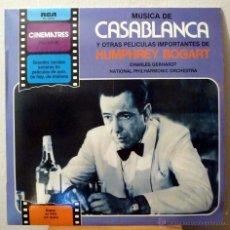 Discos de vinilo: CASABLANCA Y OTRAS PELÍCULAS DE HUMPHREY BOGART - CHARLIE GERHARDT CON LA N. P. O. (LP). Lote 46307042