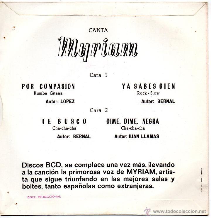 Discos de vinilo: MYRIAM, EP, POR COMPASION + 3, AÑO 1971 - Foto 2 - 46316908