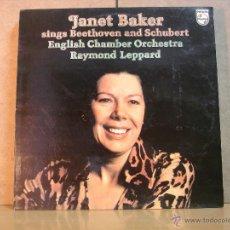 Discos de vinilo: JANET BAKER - SINGS BEETHOVEN AND SCHUBERT - PHILIPS 95 00 307 - 1978. Lote 46361952