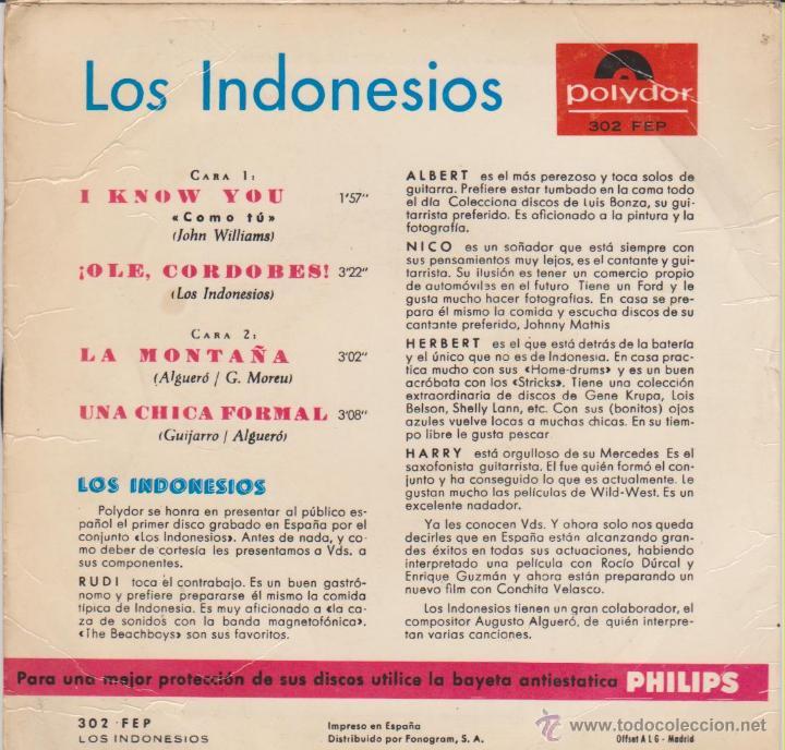 Discos de vinilo: LOS INDONESIOS - UNA CHICA FORMAL - OLE EL CORDOBES + 2 - EP SPAIN 1965 VG++ / VG++ - Foto 2 - 46428078