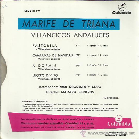 Discos de vinilo: MARIFE DE TRIANA EP COLUMBIA 1967 VILLANCICOS ANDALUCES pastorela/ campanas de navidad +2 - Foto 2 - 46447992