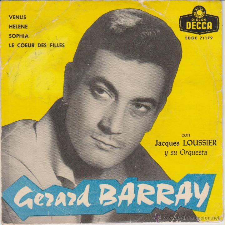 GERARD BARRAY - VENUS - HELENE - SOPHIA - EP SPAIN 1959 VG+ / VG++ (Música - Discos de Vinilo - EPs - Bandas Sonoras y Actores)