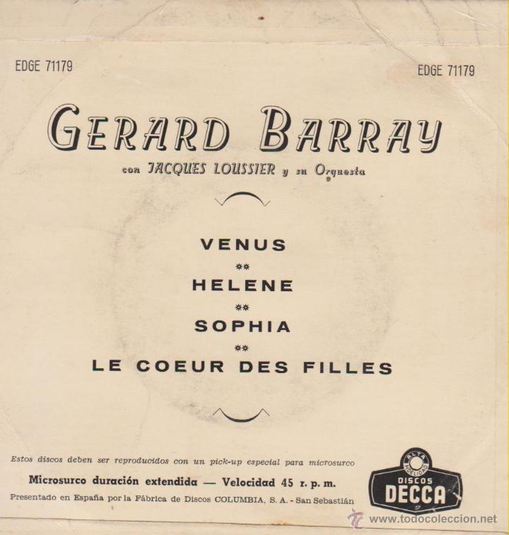 Discos de vinilo: GERARD BARRAY - VENUS - HELENE - SOPHIA - EP SPAIN 1959 VG+ / VG++ - Foto 2 - 46448268