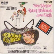Discos de vinilo: LOS PECADOS DE LA SRA. BLOSSOM - FOTO SHIRLEY MAC LAINE EN CONTRAPORTADA - SG SPAIN 1969 EX / EX. Lote 46448328