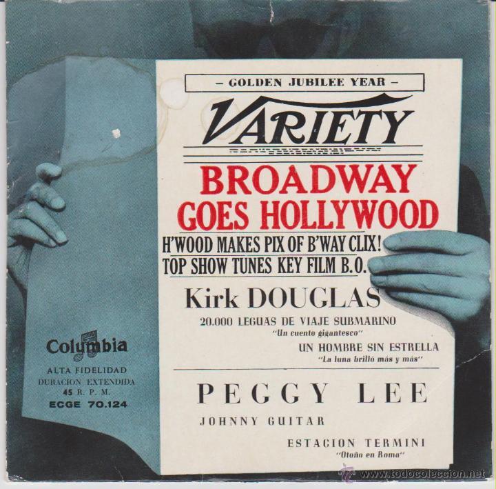KIRK DOUGLAS & THE MELLOMEN / PEGGY LEE - JOHNNY GUITAR - EP SPAIN 1957 VG++ /VG++ (Música - Discos de Vinilo - EPs - Bandas Sonoras y Actores)
