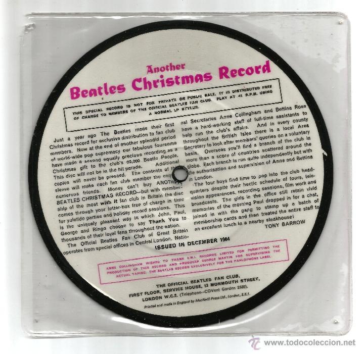 Discos de vinilo: THE BEATLES ANOTHER CHRISTMAS RECORD, OFICIAL CLUB DE FANS 1964 PICTURE DISC - Foto 2 - 131415145