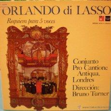 Discos de vinilo: ORLANDO DI LASSO - REQUIEM PARA CINCO VOCES. Lote 46477895