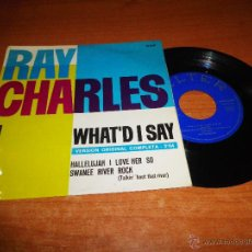Discos de vinilo: RAY CHARLES WHAT´D I SAY VERSION ORIGINAL COMPLETA EP VINILO 1963 BELTER HECHO EN ESPAÑA 3 TEMAS. Lote 46484252