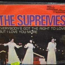 Discos de vinilo: THE SUPREMES - EVERYBODYS GET THE RIGHT TO LOVE + 1 - SINGLE. Lote 46493394