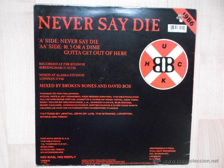 Discos de vinilo: BROKEN BONES NEVER SAY DIE 1986 PUNK - Foto 4 - 46497511