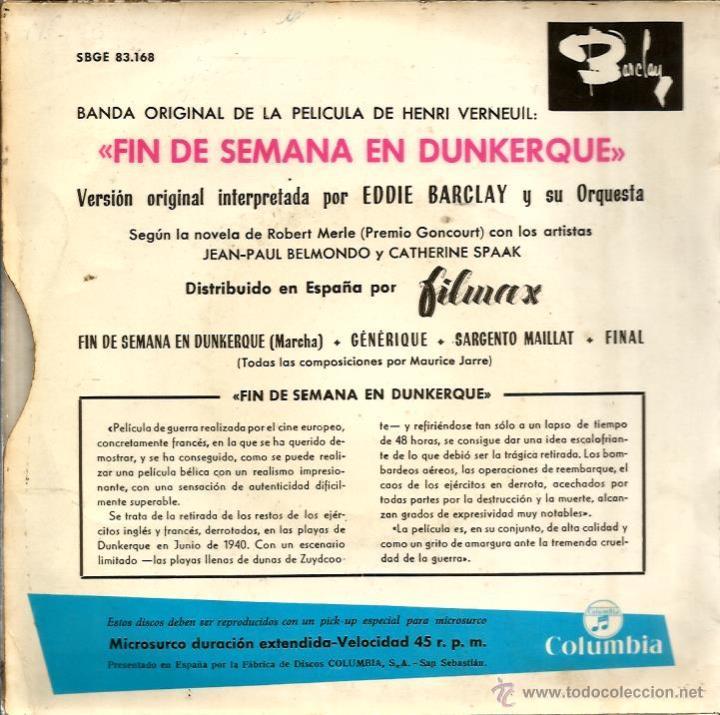 Discos de vinilo: EP EDDIE BARCLAY & MAURICE JARRE : FIN DE SEMANA EN DUNKERQUE - Foto 2 - 46502330