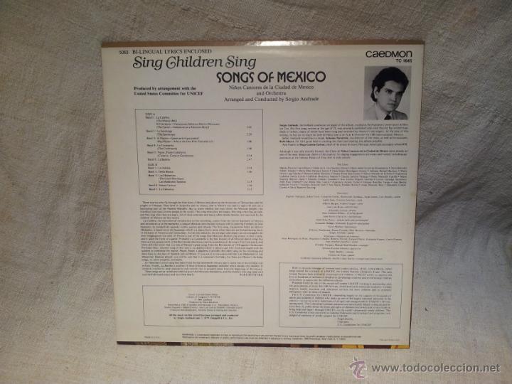 Discos de vinilo: SONGS OF MEXICO..NIÑOS CANTORES CIUDAD DE MEXICO 1980 CAEDMON MADE IN USA - Foto 2 - 46508374