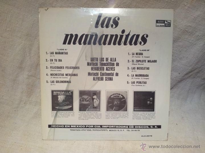 Discos de vinilo: LAS MAÑANITAS EN TU DIA..AUDIO MEX..HECHO EN MEXICO 1979 - Foto 2 - 46509120