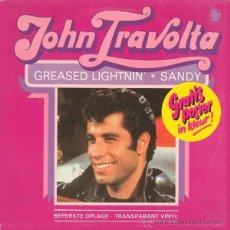 Discos de vinilo: JOHN TRAVOLTA * GREASED LIGHTNIN' * VINILO COLOR TRANSPARENTE!!! ULTRARARE. Lote 46534397