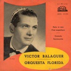 Discos de vinilo: VICTOR BALAGUER, EP, PARIS TE AMO + 3, AÑO 1959. Lote 46539628