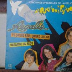 Discos de vinilo: REGALIZ -YO QUIERO REIR,QUIERO,JUGAR- HAGAMOS UN NIDO-TEMAS DE LA PELICULA LA REBELION DE LOS PAJARO. Lote 46551215