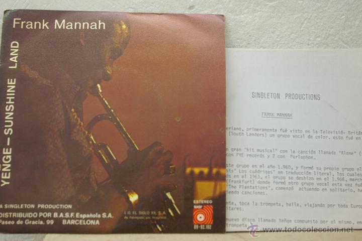 Discos de vinilo: FRANK MANNAH-YENGE-SHUNSHINE LAND- - Foto 2 - 46551377