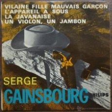 Discos de vinilo: SERGE GAINSBOURG - EP - 1963 - VILAINE FILLE MAUVAIS GARÇON / L'APPAREIL A SOUS / LA JAVANAISE / UN. Lote 46561183