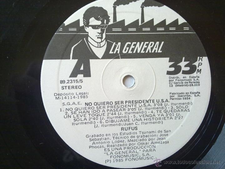 Discos de vinilo: Rufus - No quiero ser presidente U.S.A. - 1985 - Encarte - Spain - VG+/VG - Foto 5 - 46569717