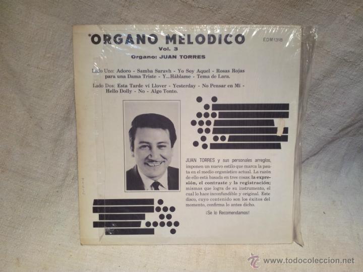Discos de vinilo: juan torres--organo melodico vol. 3 ..musart mexico..años 70 - Foto 2 - 46620410