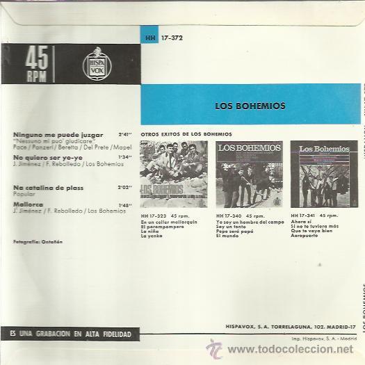 Discos de vinilo: LOS BOHEMIOS EP HISPAVOX ninguno me puede juzgar/ no quiero ser ye ye +2 BEAT GARAGE MOD - Foto 2 - 46674917